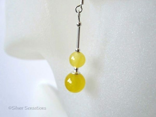 Bright Yellow Jade Duo Sterling Silver Earrings | Silver Sensations